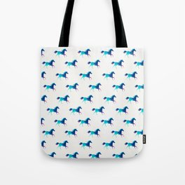 blue horse pattern Tote Bag