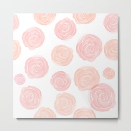 Delicate Soft Pastel Roses Pattern Metal Print