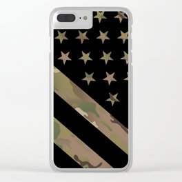 U.S. Flag: Military Camouflage Clear iPhone Case