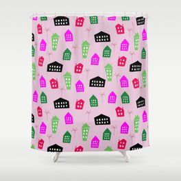 Abstract pink black green hand painted geometrical pattern Shower Curtain