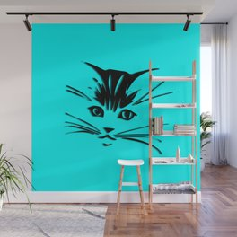 Aqua Kitty Cat Face Wall Mural