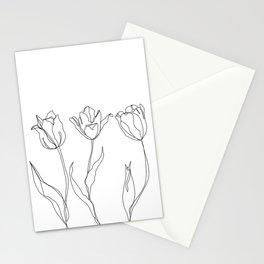 Botanical illustration line drawing - Three Tulips Stationery Cards