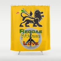 reggae Shower Curtains featuring Reggae, Music & Love by Gold Blood