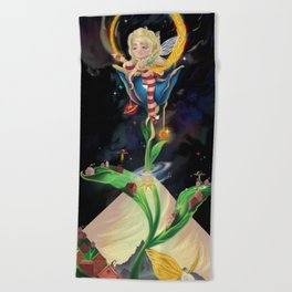 Moon fairy and the space scientists Beach Towel