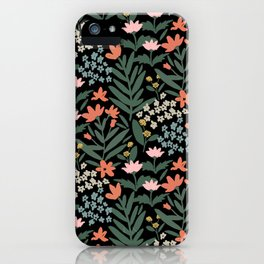 Ditzy Floral on Black by Lindsay Brackeen iPhone Case