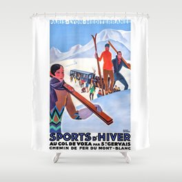 1930 Winter Sports In The French Alps Poster Shower Curtain