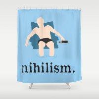 big lebowski Shower Curtains featuring Nihilism - The Big Lebowski Print by Kelmo