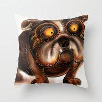 bulldog Throw Pillows featuring Bulldog by Riccardo Pertici