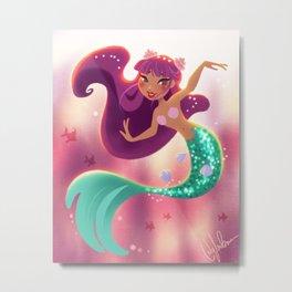 Mermaid With Purple Hair Metal Print