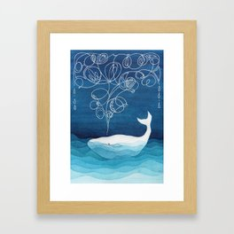 Happy whale, animals sea creature, teal blue watercolor Framed Art Print