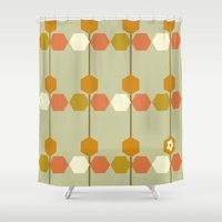 hexagon Shower Curtains featuring Hexagon by clare nicolson