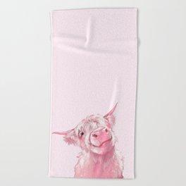 Highland Cow Pink Beach Towel