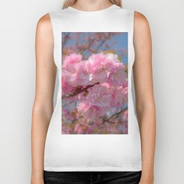 Cherry Blossom. Pink flowers Biker Tank