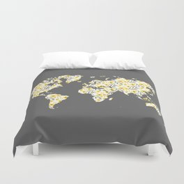 Yellow Flowers World Map Duvet Cover