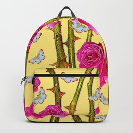 WHITE BUTTERFLIES & CERISE PINK ROSE THORN CANES YELLOW Backpack