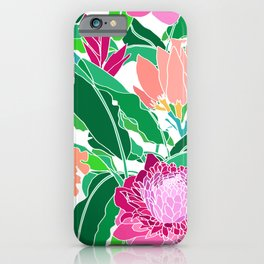 Bird of Paradise + Ginger Tropical Floral in White iPhone Case