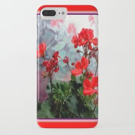 Red Geraniums Floral Red Abstract iPhone Case