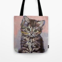 kitten Tote Bags featuring Kitten by Michael Creese