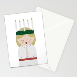 Cartoon girl with candles at Saint Lucy at Christmas Stationery Cards