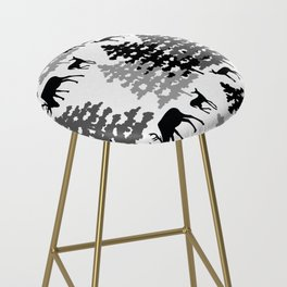 Woodland Rustic Deer Winter Mountain Forest Trees Bar Stool