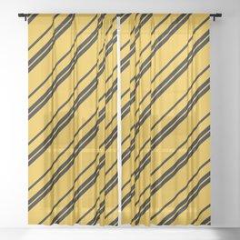 Potterverse Stripes - Hufflepuff Yellow Sheer Curtain