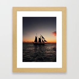 Sunset Sailboat Framed Art Print