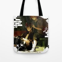 truck Tote Bags featuring Pickup Truck by Velocesmells