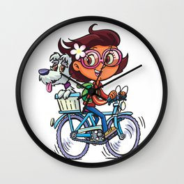 Girl on the bike with dog Wall Clock