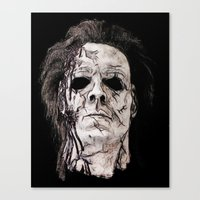 michael myers Canvas Prints featuring michael myers by American Artist