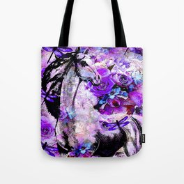 HORSE ROSES DRAGONFLY IMPRESSIONS Tote Bag