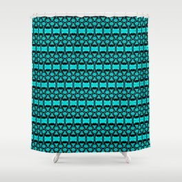 Abstract Pattern Dividers 02 in Turquoise Black Shower Curtain