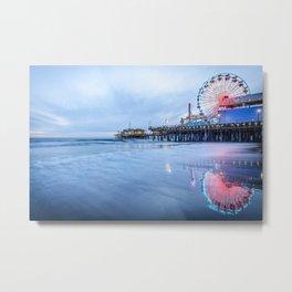 SANTA MONICA PIER SUNSET CALIFORNIA PHOTOGRAPHY Metal Print