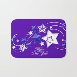 Blue and Purple Happy New Year Shooting Stars  Bath Mat