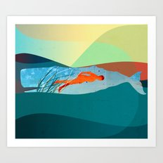 In the water under the sea Art Print