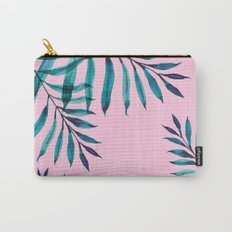 Tropical Greenery On Pink Carry-All Pouch