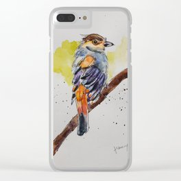 Silver-breasted Broadbill - in watercolor Clear iPhone Case