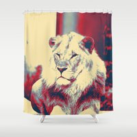 popart Shower Curtains featuring Lion popart by MehrFarbeimLeben