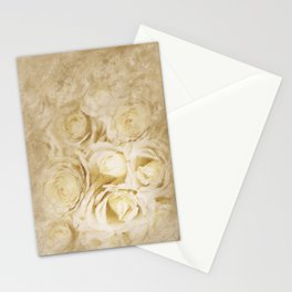 White Roses Digital Painting Stationery Cards