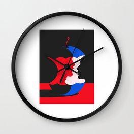 cute apple illustration Wall Clock