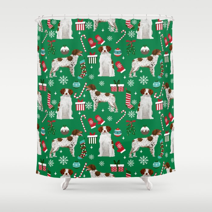 Brittany Spaniel Christmas Pattern Dog Breed Presents Stockings Candy Canes Shower Curtain