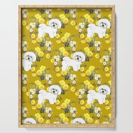 Bichon Frise on Yellow Rose Floral Autumn Gold Serving Tray