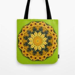 Black-eyed Susans, Floral mandala-style Tote Bag