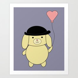 Yellow Dog in Bowler Hat with Heart Balloon Art Print