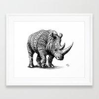 bioworkz Framed Art Prints featuring Rhinoceros by BIOWORKZ