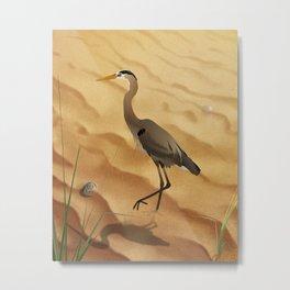 Heron on golden sands Metal Print
