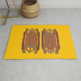 Vintage Sleepy Tigers | Yellow Rug