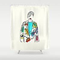 comic Shower Curtains featuring Comic by Fatima khayyat