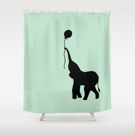 Elephant with Balloon - Mint Shower Curtain