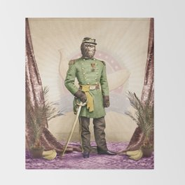 General Simian of the Glorious Banana Republic Throw Blanket