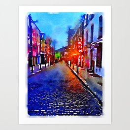 Dublin at Night (Soaked Collection) Art Print